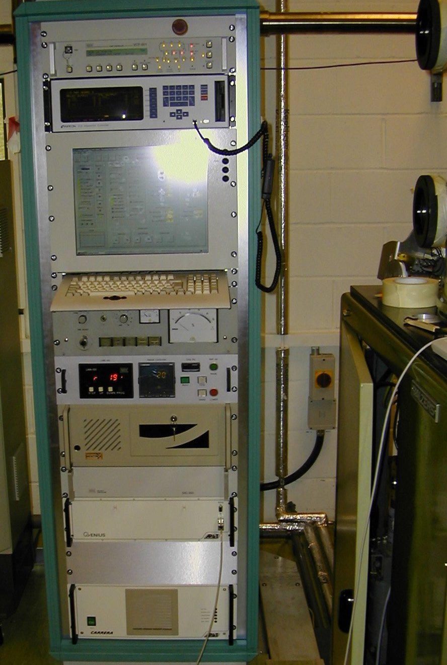 Photo of control rack containing Cigol h/w and s/w
